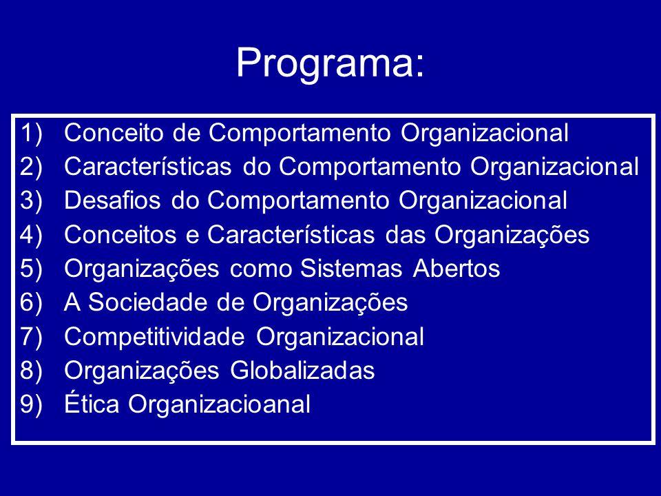 Programa: 1)Conceito de Comportamento Organizacional 2)Características do Comportamento Organizacional 3)Desafios do Comportamento Organizacional 4)Co