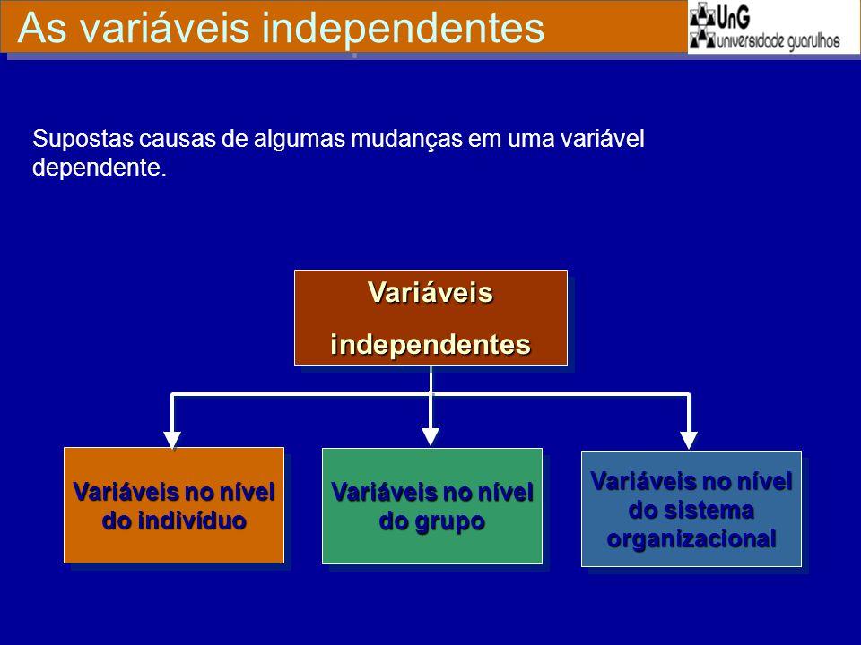 VariáveisindependentesVariáveisindependentes Variáveis no nível do indivíduo Variáveis no nível do sistema organizacional Variáveis no nível do grupo