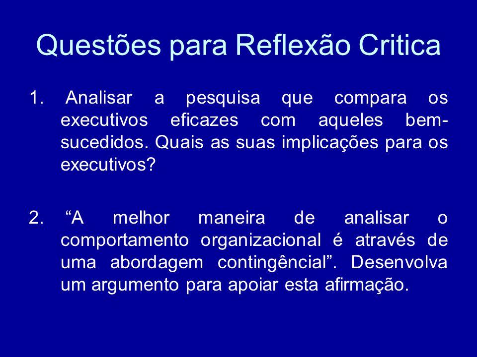 Questões para Reflexão Critica 1. Analisar a pesquisa que compara os executivos eficazes com aqueles bem- sucedidos. Quais as suas implicações para os