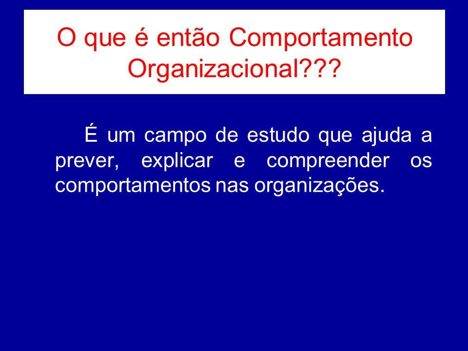 O que é então Comportamento Organizacional??? É um campo de estudo que ajuda a prever, explicar e compreender os comportamentos nas organizações.
