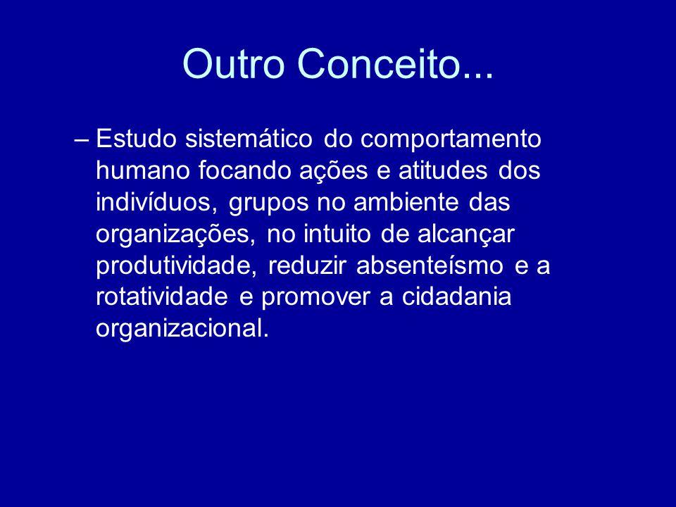Outro Conceito... –Estudo sistemático do comportamento humano focando ações e atitudes dos indivíduos, grupos no ambiente das organizações, no intuito