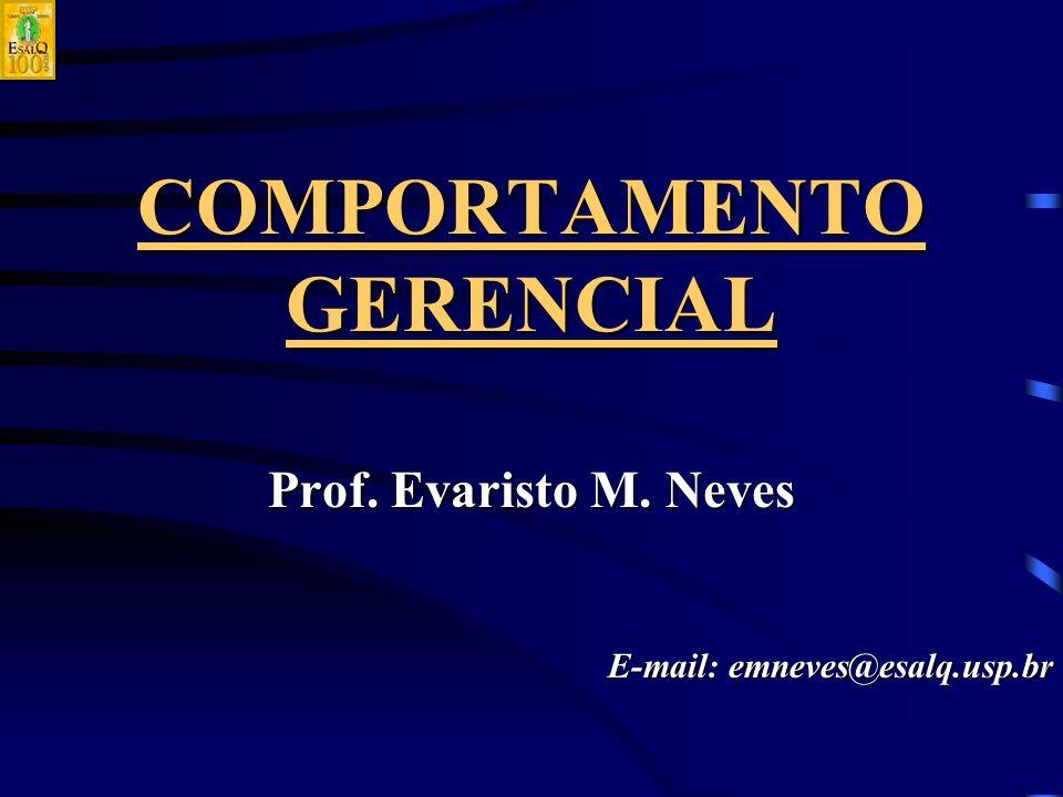 COMPORTAMENTO GERENCIAL Prof. Evaristo M. Neves E-mail: emneves@esalq.usp.br