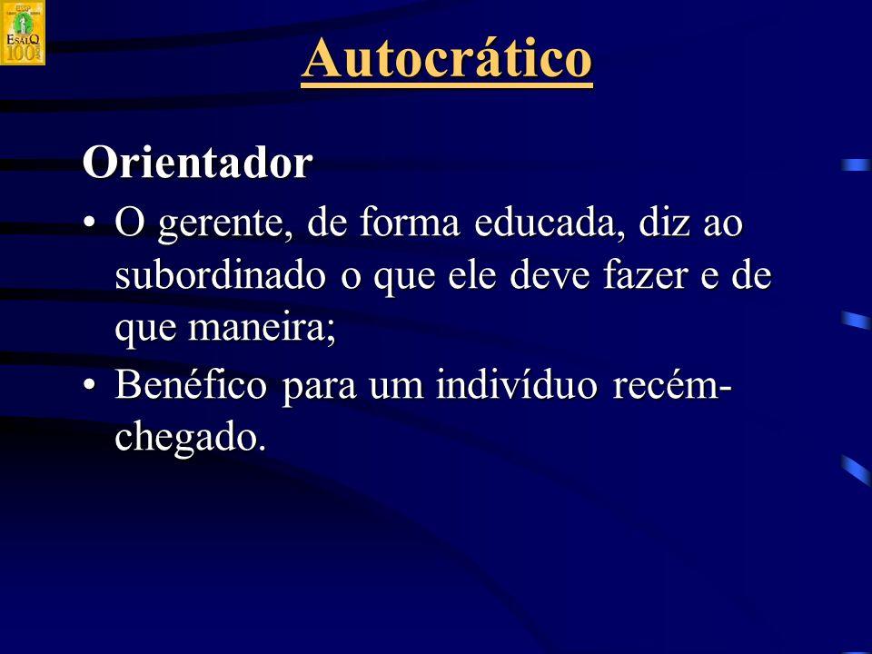 AutocráticoOrientador O gerente, de forma educada, diz ao subordinado o que ele deve fazer e de que maneira;O gerente, de forma educada, diz ao subordinado o que ele deve fazer e de que maneira; Benéfico para um indivíduo recém- chegado.Benéfico para um indivíduo recém- chegado.