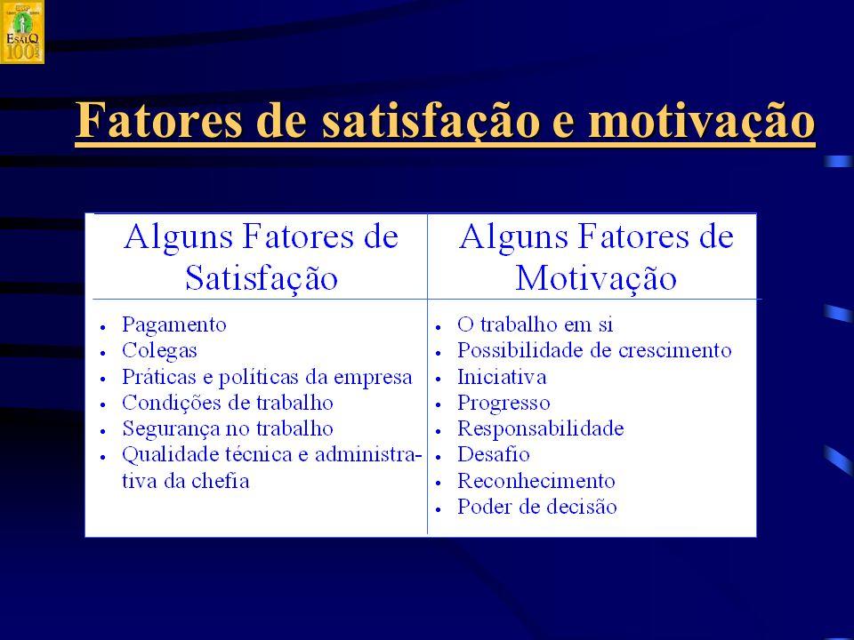 Fatores de satisfação e motivação