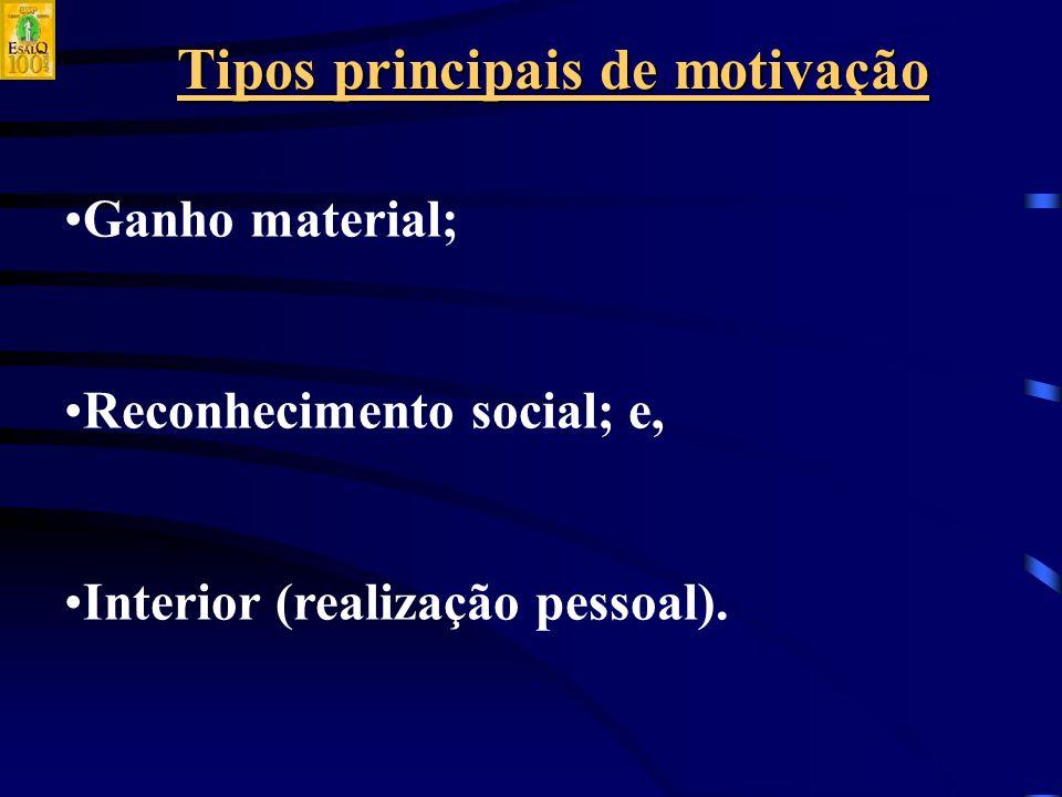 Tipos principais de motivação Ganho material; Reconhecimento social; e, Interior (realização pessoal).