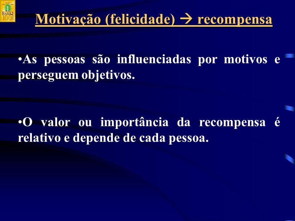 Motivação (felicidade)  recompensa As pessoas são influenciadas por motivos e perseguem objetivos.