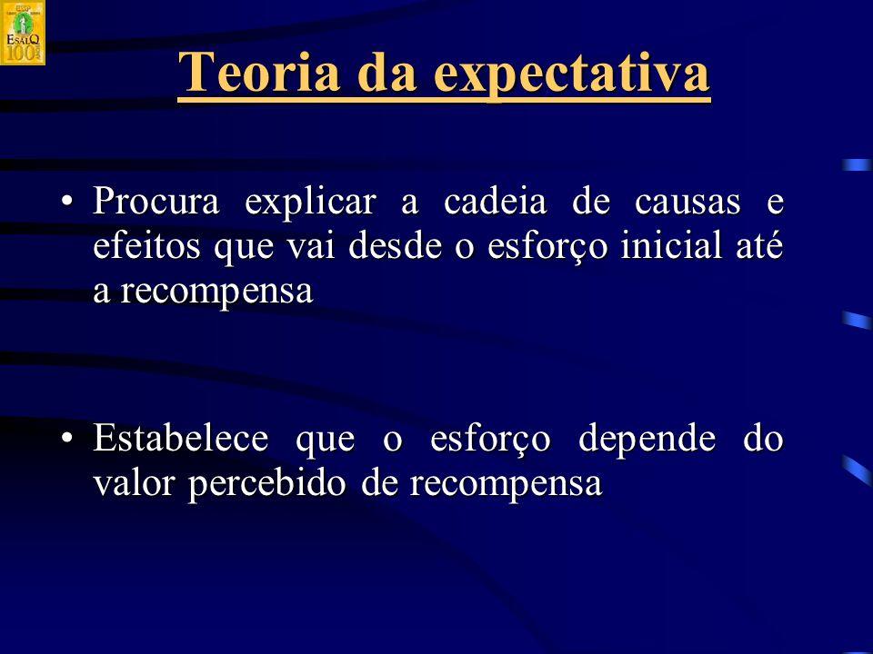 Teoria da expectativa Procura explicar a cadeia de causas e efeitos que vai desde o esforço inicial até a recompensaProcura explicar a cadeia de causas e efeitos que vai desde o esforço inicial até a recompensa Estabelece que o esforço depende do valor percebido de recompensaEstabelece que o esforço depende do valor percebido de recompensa