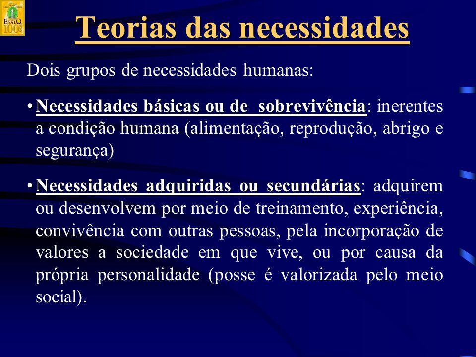 Teorias das necessidades Dois grupos de necessidades humanas: Necessidades básicas ou de sobrevivênciaNecessidades básicas ou de sobrevivência: inerentes a condição humana (alimentação, reprodução, abrigo e segurança) Necessidades adquiridas ou secundáriasNecessidades adquiridas ou secundárias: adquirem ou desenvolvem por meio de treinamento, experiência, convivência com outras pessoas, pela incorporação de valores a sociedade em que vive, ou por causa da própria personalidade (posse é valorizada pelo meio social).