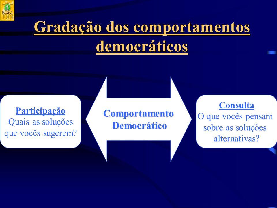 Gradação dos comportamentos democráticos Comportamento Democrático Democrático Participação Quais as soluções que vocês sugerem.