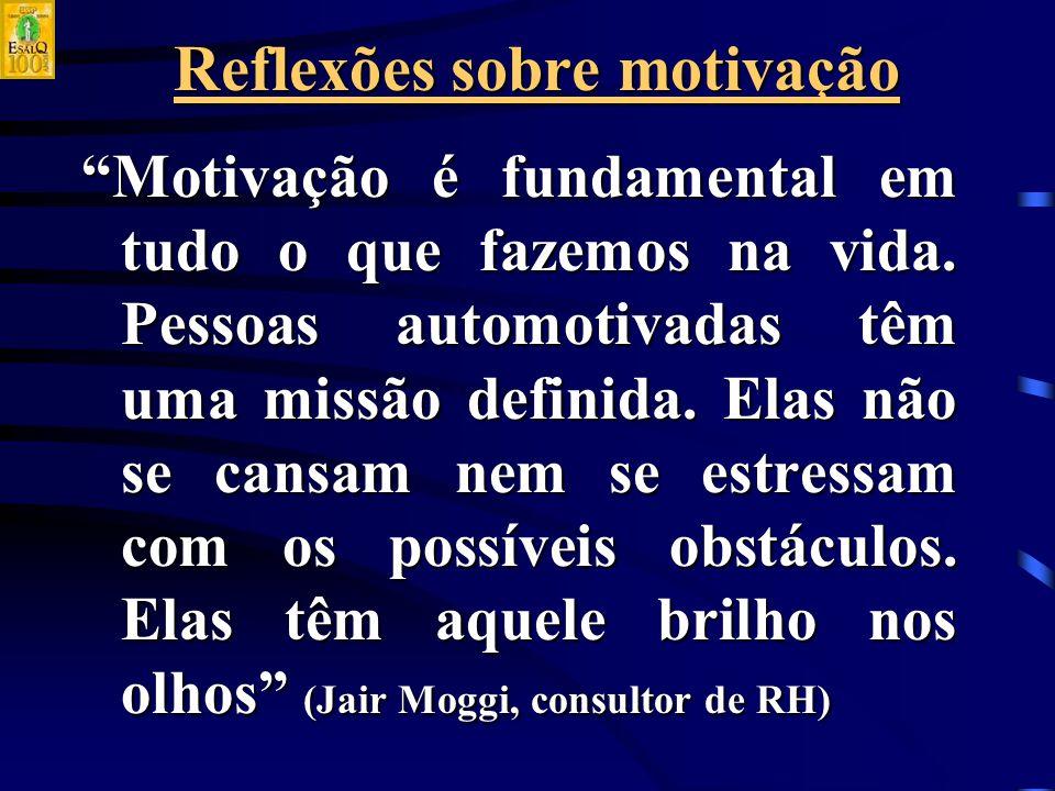 Reflexões sobre motivação Motivação é fundamental em tudo o que fazemos na vida.