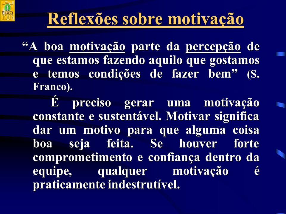 Reflexões sobre motivação A boa motivação parte da percepção de que estamos fazendo aquilo que gostamos e temos condições de fazer bem (S.