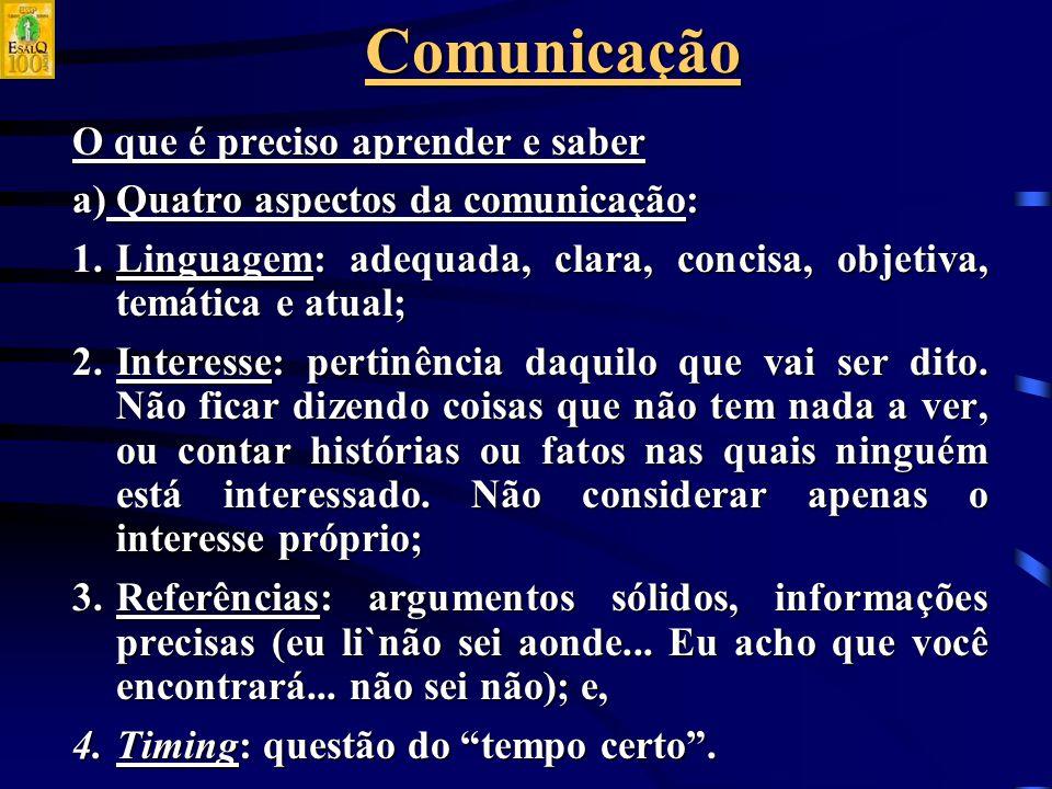 Comunicação O que é preciso aprender e saber a) Quatro aspectos da comunicação: 1.Linguagem: adequada, clara, concisa, objetiva, temática e atual; 2.Interesse: pertinência daquilo que vai ser dito.
