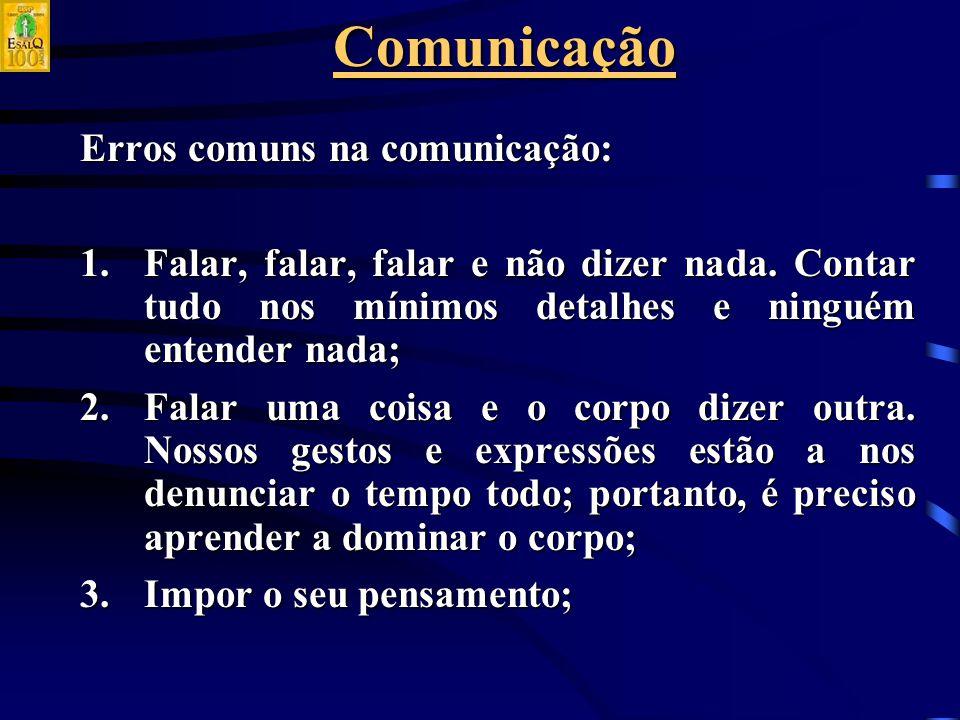 Comunicação Erros comuns na comunicação: 1.Falar, falar, falar e não dizer nada.