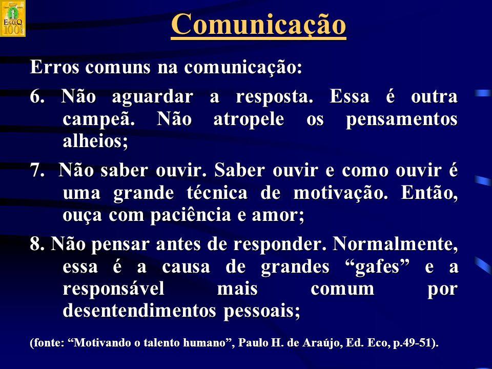 Comunicação Erros comuns na comunicação: 6.Não aguardar a resposta.