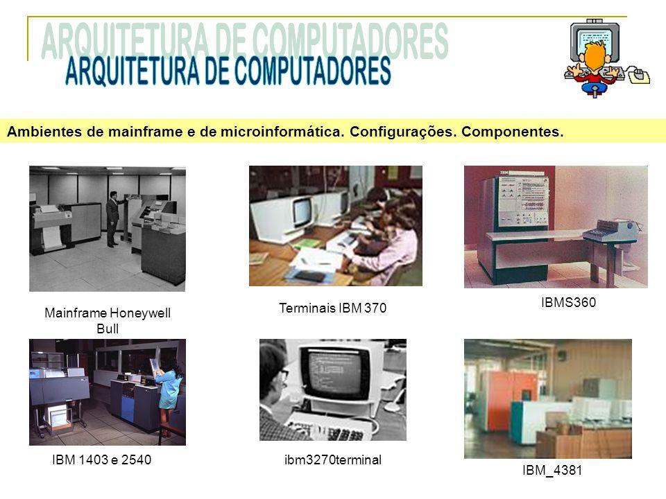 Ambientes de mainframe e de microinformática. Configurações. Componentes. IBM 1403 e 2540 Terminais IBM 370 ibm3270terminal Mainframe Honeywell Bull I