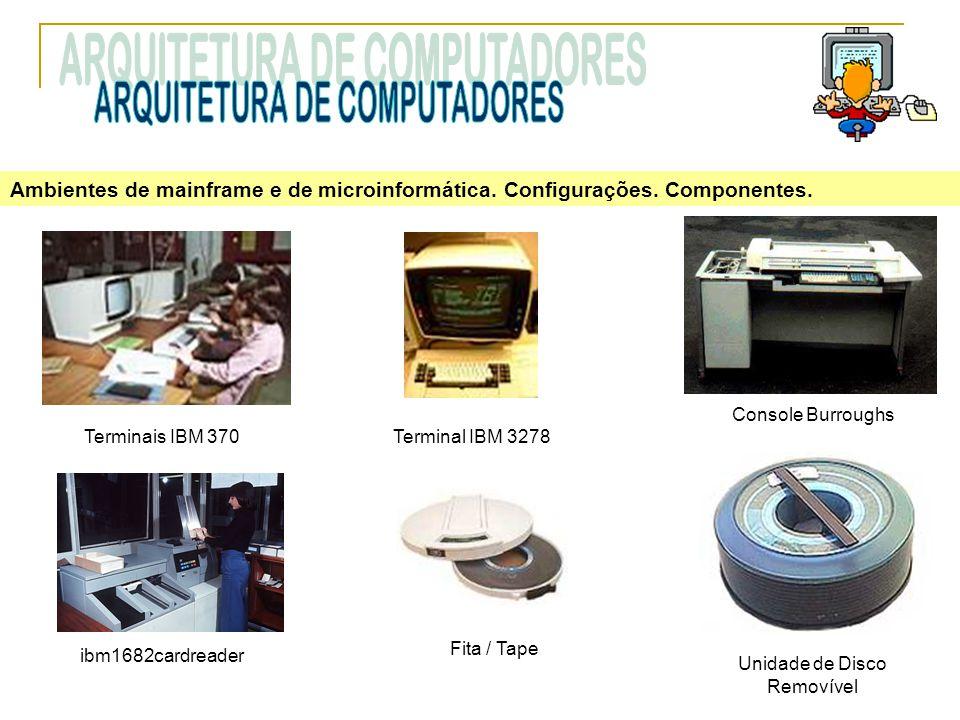 Ambientes de mainframe e de microinformática. Configurações. Componentes. Console Burroughs Unidade de Disco Removível Terminais IBM 370 ibm1682cardre