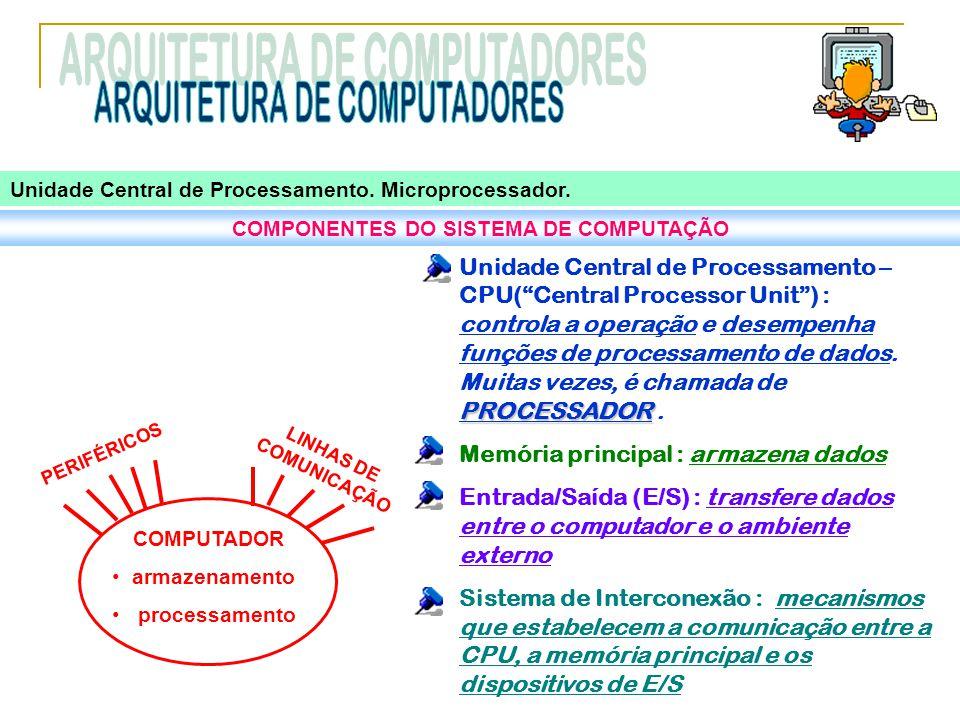 """Unidade Central de Processamento. Microprocessador. COMPONENTES DO SISTEMA DE COMPUTAÇÃO PROCESSADOR Unidade Central de Processamento – CPU(""""Central P"""