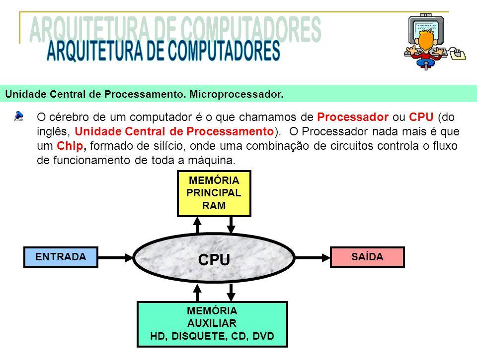 O cérebro de um computador é o que chamamos de Processador ou CPU (do inglês, Unidade Central de Processamento). O Processador nada mais é que um Chip