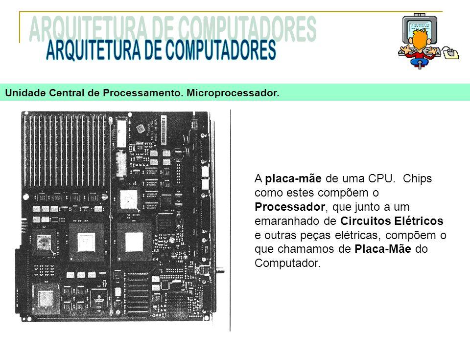 A placa-mãe de uma CPU. Chips como estes compõem o Processador, que junto a um emaranhado de Circuitos Elétricos e outras peças elétricas, compõem o q