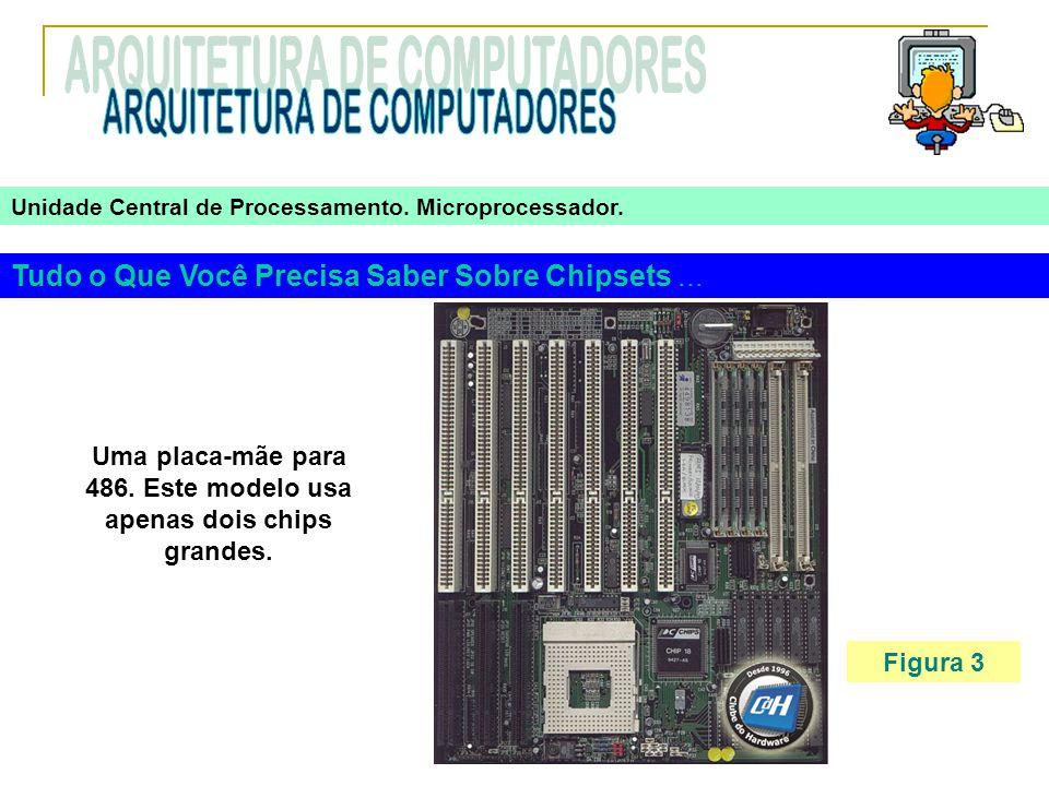 Tudo o Que Você Precisa Saber Sobre Chipsets... Figura 3 Uma placa-mãe para 486. Este modelo usa apenas dois chips grandes. Unidade Central de Process