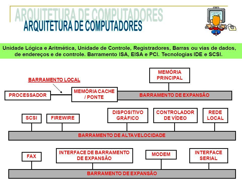 Unidade Lógica e Aritmética, Unidade de Controle, Registradores, Barras ou vias de dados, de endereços e de controle. Barramento ISA, EISA e PCI. Tecn