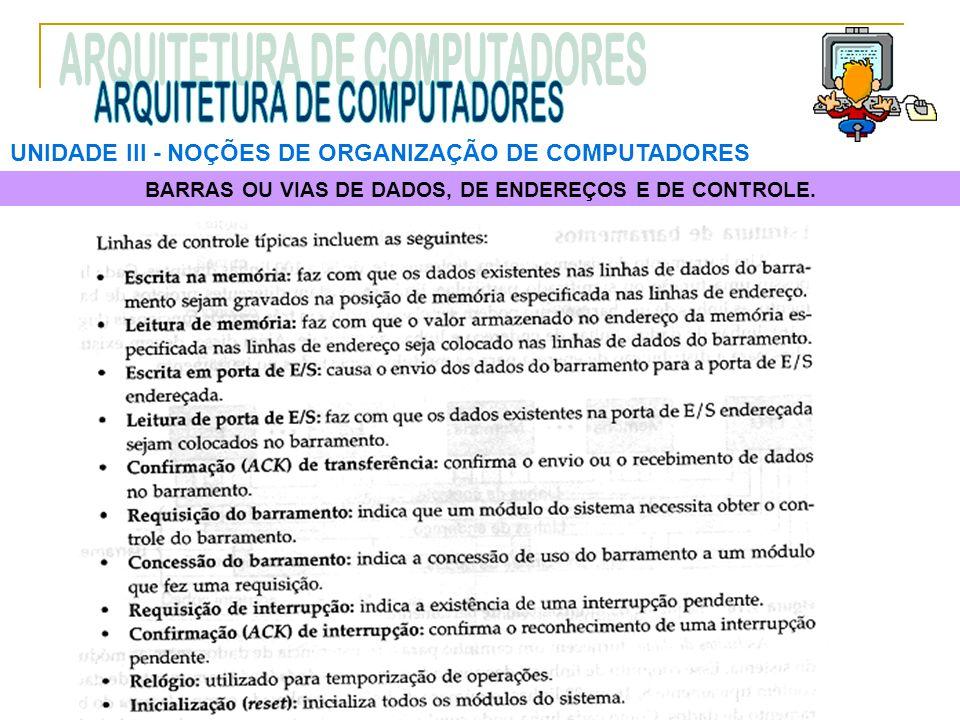 UNIDADE III ‑ NOÇÕES DE ORGANIZAÇÃO DE COMPUTADORES BARRAS OU VIAS DE DADOS, DE ENDEREÇOS E DE CONTROLE.