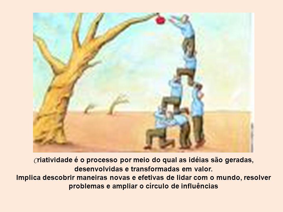 C riatividade é o processo por meio do qual as idéias são geradas, desenvolvidas e transformadas em valor. Implica descobrir maneiras novas e efetivas