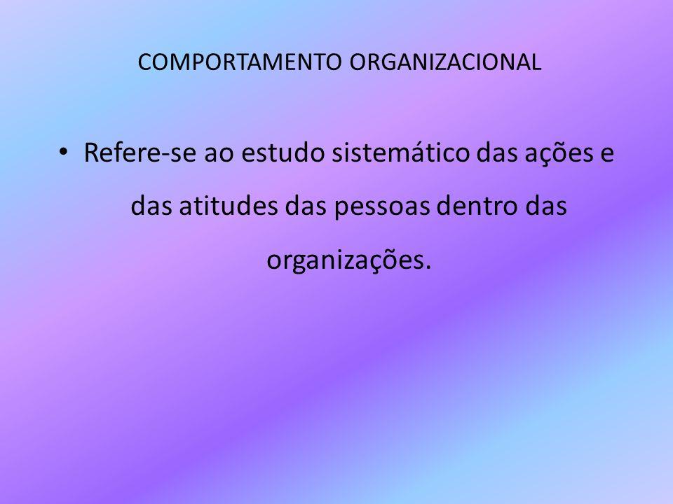 COMPORTAMENTO ORGANIZACIONAL Refere-se ao estudo sistemático das ações e das atitudes das pessoas dentro das organizações.
