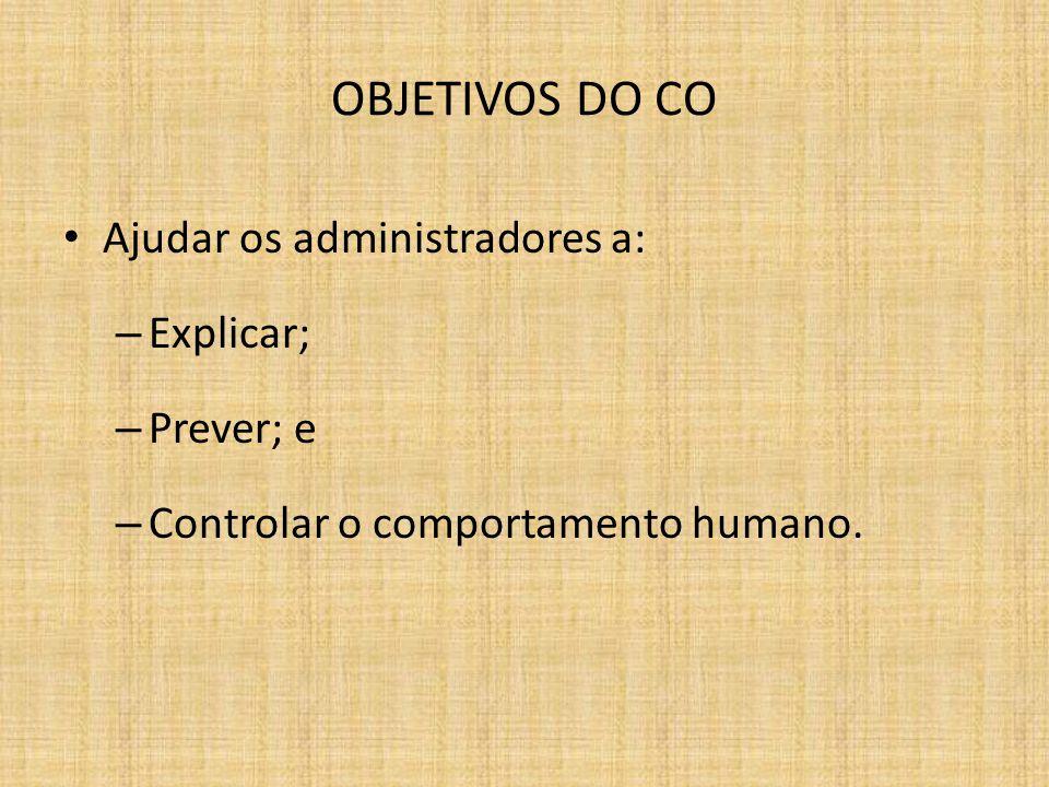 OBJETIVOS DO CO Ajudar os administradores a: – Explicar; – Prever; e – Controlar o comportamento humano.