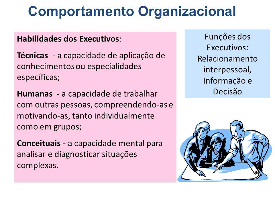 Comportamento Organizacional Habilidades dos Executivos: Técnicas - a capacidade de aplicação de conhecimentos ou especialidades específicas; Humanas