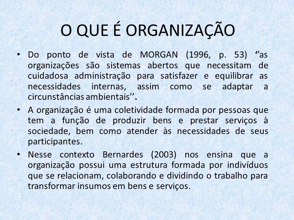 O QUE É ORGANIZAÇÃO Do ponto de vista de MORGAN (1996, p. 53) ''as organizações são sistemas abertos que necessitam de cuidadosa administração para sa