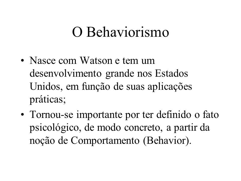O Behaviorismo Nasce com Watson e tem um desenvolvimento grande nos Estados Unidos, em função de suas aplicações práticas; Tornou-se importante por te
