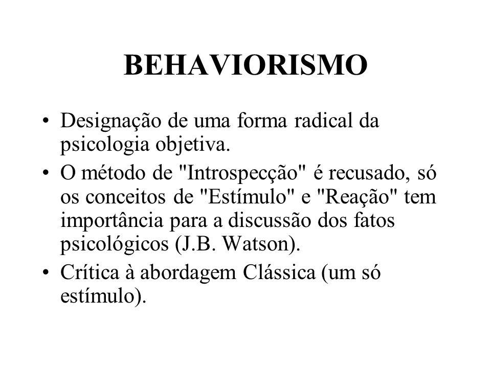 BEHAVIORISMO Designação de uma forma radical da psicologia objetiva. O método de