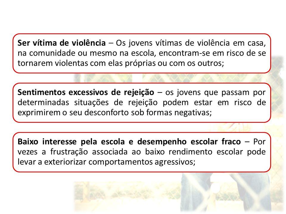 Ser vítima de violência – Os jovens vítimas de violência em casa, na comunidade ou mesmo na escola, encontram-se em risco de se tornarem violentas com