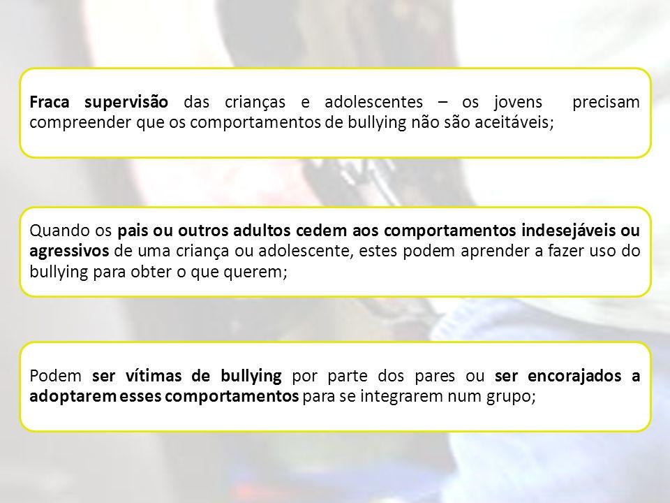 Fraca supervisão das crianças e adolescentes – os jovens precisam compreender que os comportamentos de bullying não são aceitáveis; Quando os pais ou