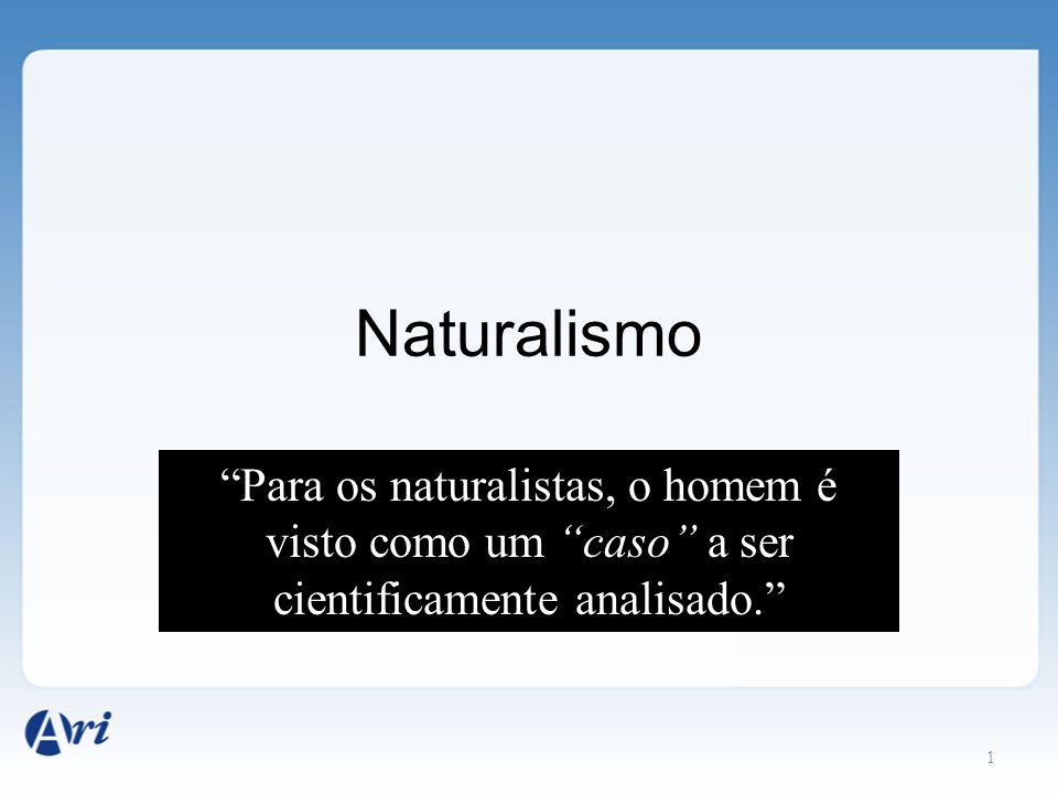 """Naturalismo 1 """"Para os naturalistas, o homem é visto como um """"caso"""" a ser cientificamente analisado."""""""