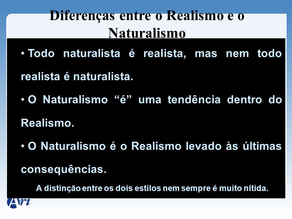 """Diferenças entre o Realismo e o Naturalismo Todo naturalista é realista, mas nem todo realista é naturalista. O Naturalismo """"é"""" uma tendência dentro d"""