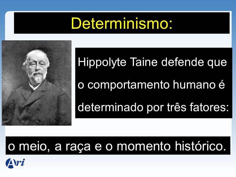 Hippolyte Taine defende que o comportamento humano é determinado por três fatores: Determinismo: o meio, a raça e o momento histórico.
