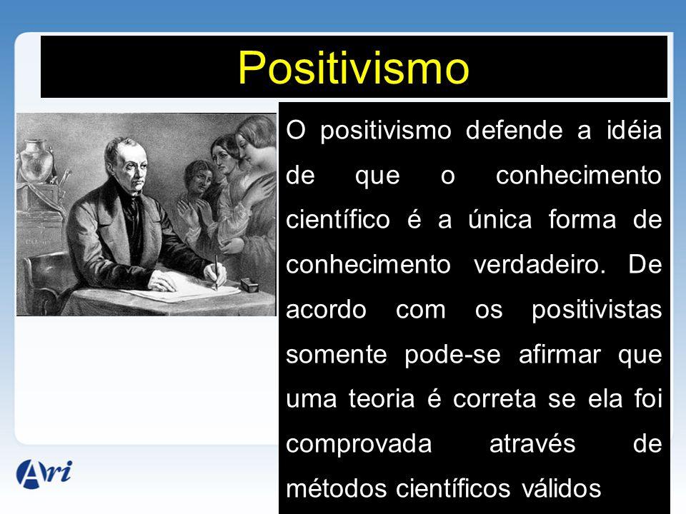 Positivismo O positivismo defende a idéia de que o conhecimento científico é a única forma de conhecimento verdadeiro. De acordo com os positivistas s