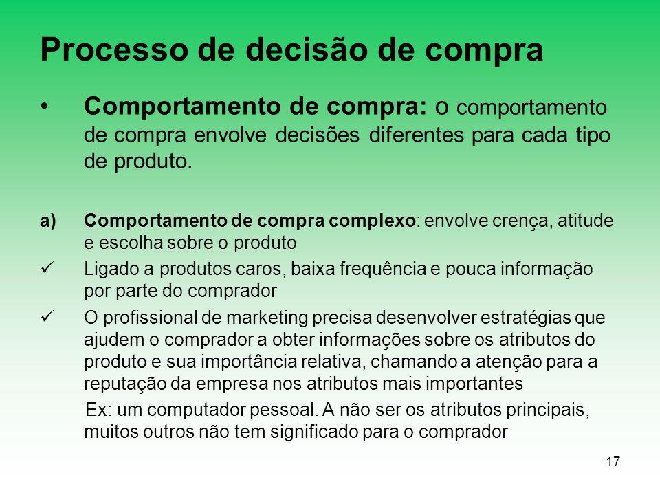 17 Processo de decisão de compra Comportamento de compra: o comportamento de compra envolve decisões diferentes para cada tipo de produto. a)Comportam