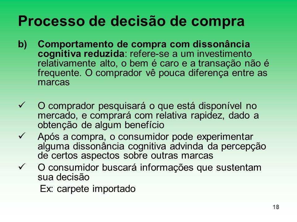 18 Processo de decisão de compra b)Comportamento de compra com dissonância cognitiva reduzida: refere-se a um investimento relativamente alto, o bem é