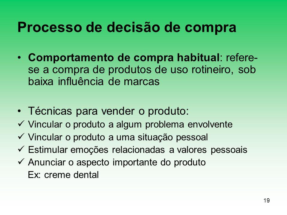 19 Processo de decisão de compra Comportamento de compra habitual: refere- se a compra de produtos de uso rotineiro, sob baixa influência de marcas Té
