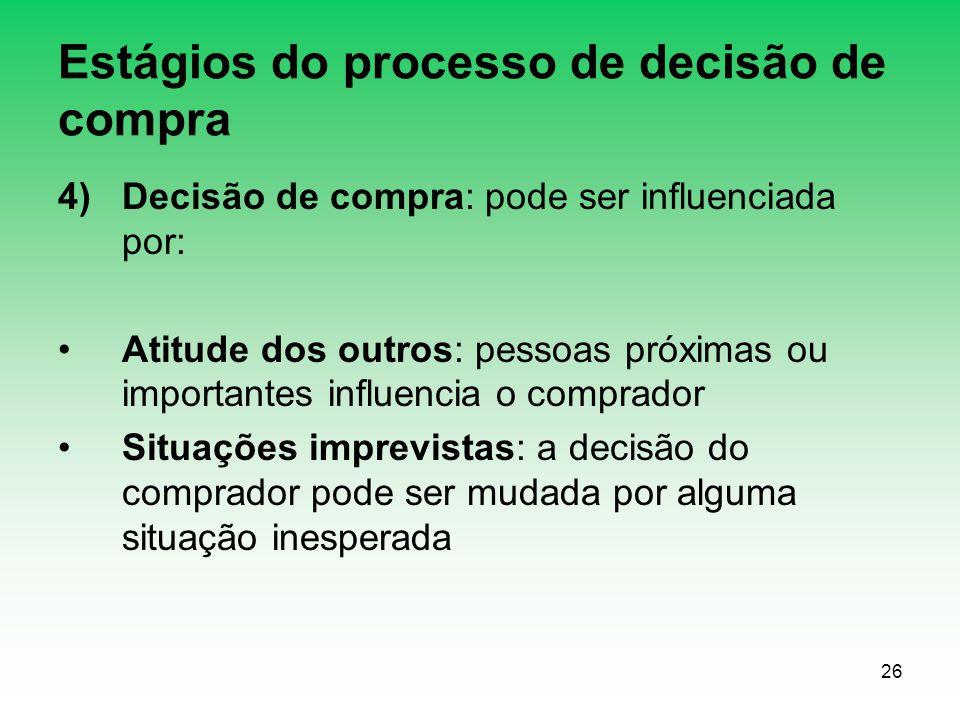 26 Estágios do processo de decisão de compra 4)Decisão de compra: pode ser influenciada por: Atitude dos outros: pessoas próximas ou importantes influ