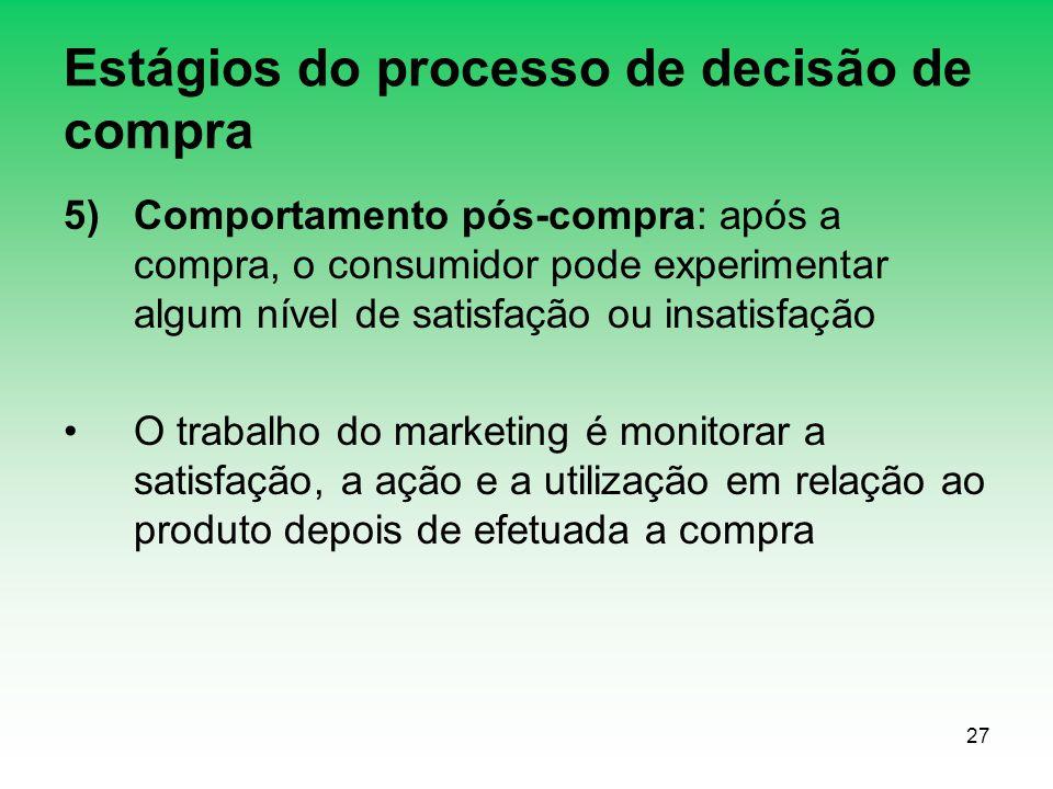 27 Estágios do processo de decisão de compra 5)Comportamento pós-compra: após a compra, o consumidor pode experimentar algum nível de satisfação ou in