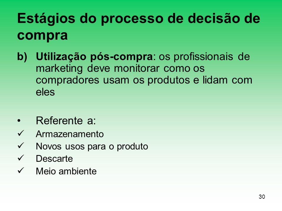 30 Estágios do processo de decisão de compra b)Utilização pós-compra: os profissionais de marketing deve monitorar como os compradores usam os produto