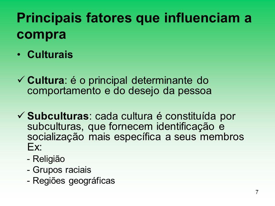 7 Principais fatores que influenciam a compra Culturais Cultura: é o principal determinante do comportamento e do desejo da pessoa Subculturas: cada c