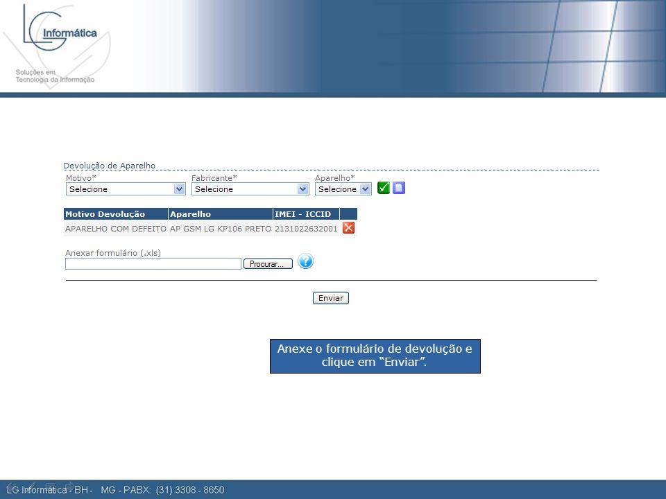 Ordem de compra 2 Anexe o formulário de devolução e clique em Enviar .
