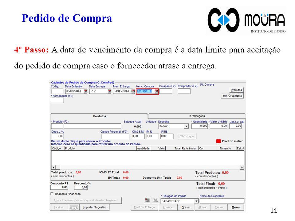 11 4º Passo: A data de vencimento da compra é a data limite para aceitação do pedido de compra caso o fornecedor atrase a entrega. Pedido de Compra