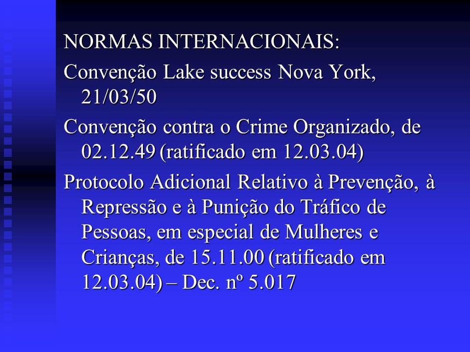 NORMAS INTERNACIONAIS: Convenção Lake success Nova York, 21/03/50 Convenção contra o Crime Organizado, de 02.12.49 (ratificado em 12.03.04) Protocolo