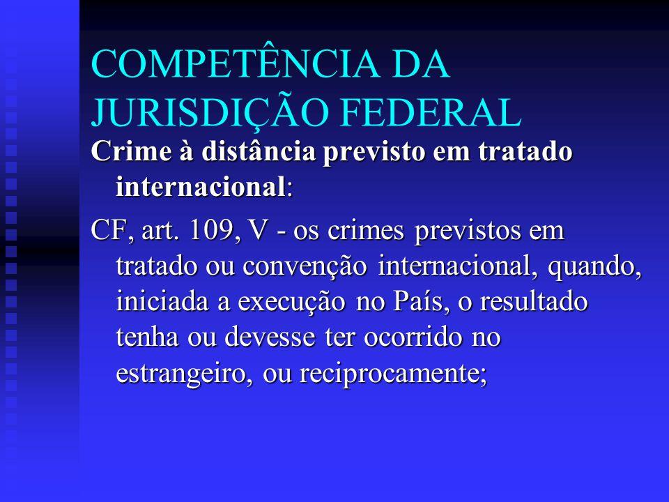 COMPETÊNCIA DA JURISDIÇÃO FEDERAL Crime à distância previsto em tratado internacional: CF, art. 109, V - os crimes previstos em tratado ou convenção i